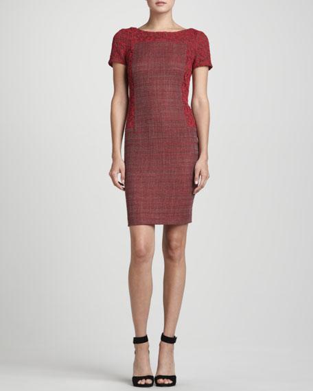Lace-Overlay Tweed Dress