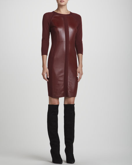 Leather-Inset Knit 3/4-Sleeve Dress