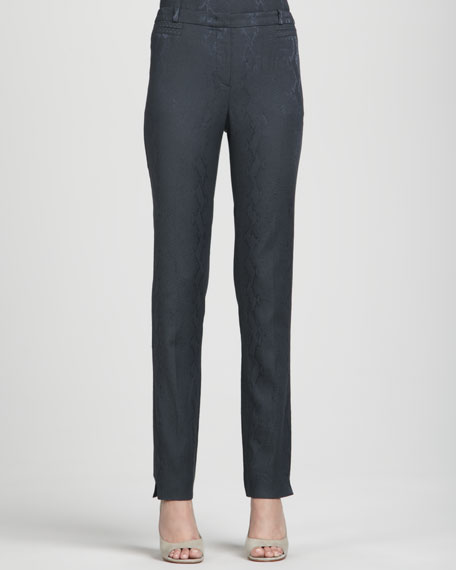 Snake/Dot-Jacquard Slim Pants