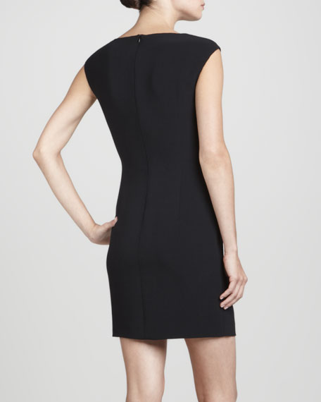 Sequin-Panel Knit Sheath Dress