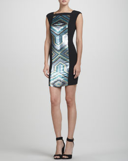 Rena Lange Sequin-Panel Knit Sheath Dress