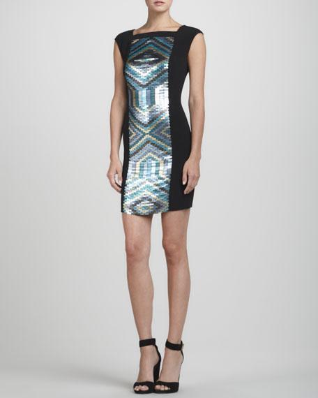 Sequin-Panel Knit Sheath Dress