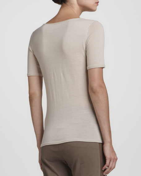 Seam-Front Short-Sleeve Pullover