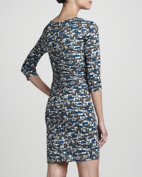 Handbag-Print Wrapped Dress