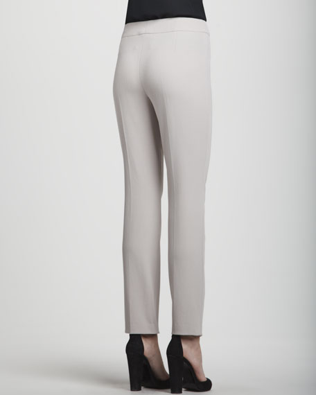 Narrow Wool Twill Pants, Almond