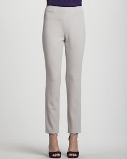 Rena Lange Narrow Wool Twill Pants, Almond