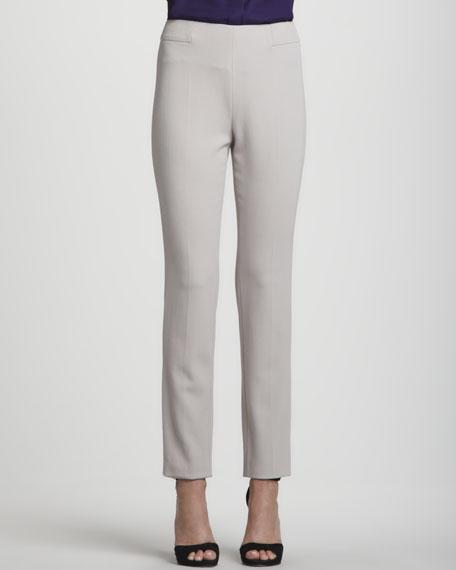 Narrow Wool Twill Pants, Almond