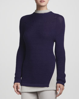 Rena Lange Hand-Knit Layered Trompe-l'Oeil Sweater