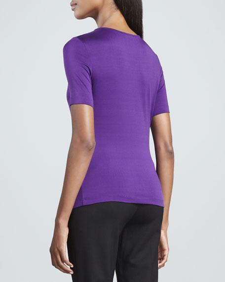 Stretch Silk Jersey Top, Purple