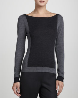 Rena Lange Colorblock Long-Sleeve Pullover