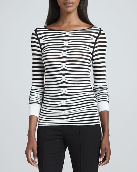 Illusion-Striped Long-Sleeve Top