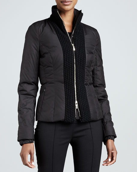 Quilted Zip-Front Puffer, Black