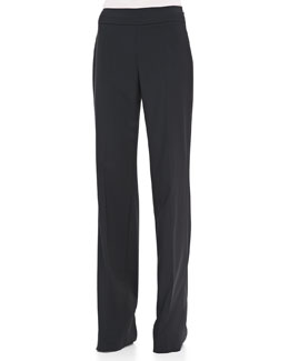 Rena Lange Side-Zip Wide-Leg Classic Trousers