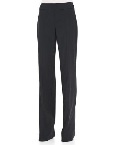 Rena Lange Side-Zip Wide-Leg Classic Trousers