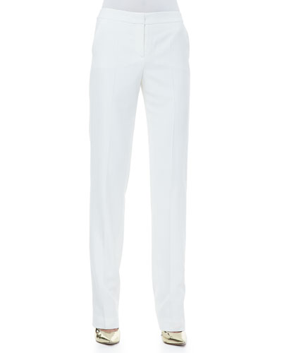Rena Lange Twill Straight-Leg Pants