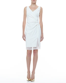 Rena Lange Surplice Ruched Sleeveless Dress