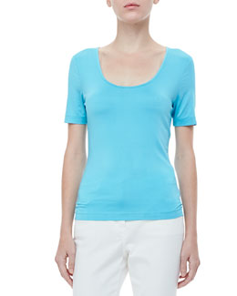 Rena Lange Silk-Blend Scoop-Neck Tee