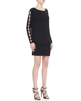 Rena Lange Cutout-Sleeve Knit Dress