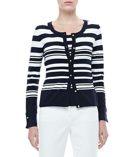 Rena Lange Striped-Front Solid-Back Cardigan