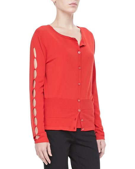 Cutout-Sleeve Knit Cardigan