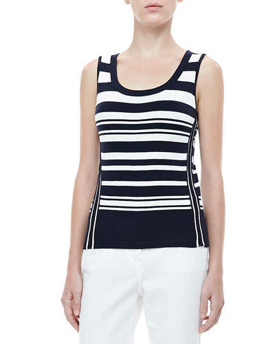 Rena Lange Mixed-Stripe Knit Tank