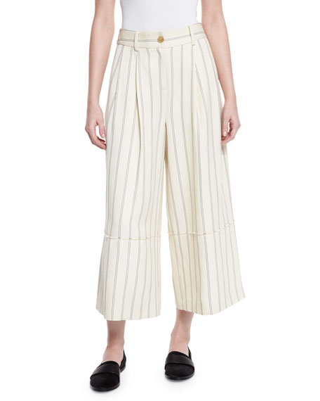 GREY by Jason Wu Striped Twill Wide-Leg Cropped