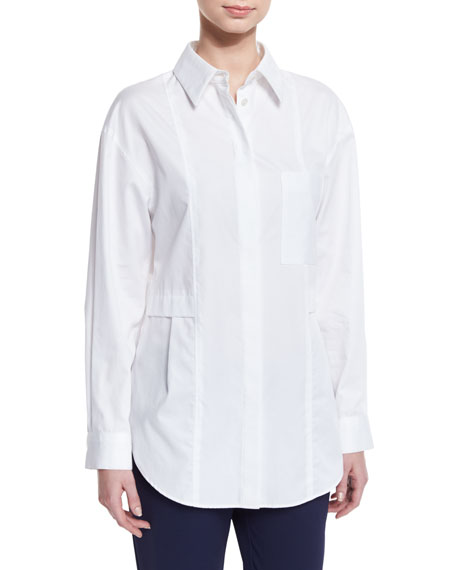 GREY by Jason Wu Relaxed Long-Sleeve Button-Front Poplin