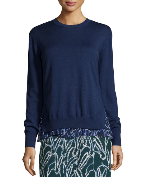 GREY by Jason Wu Merino Sweater w/ Bunny-Print