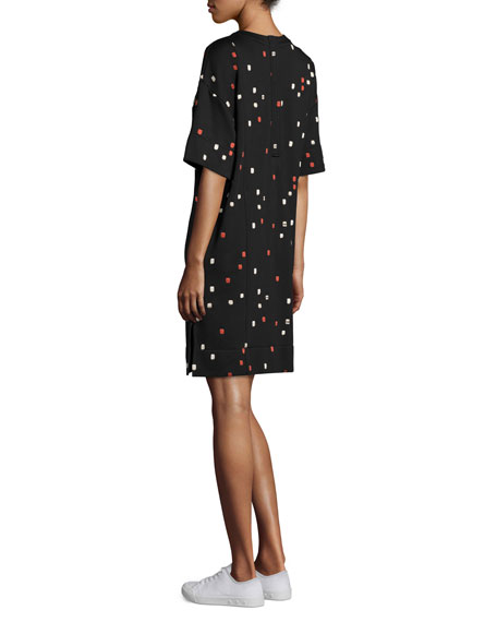 Half-Sleeve Embroidered-Dash Shift Dress, Black