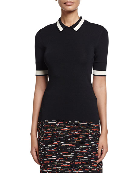 GREY Jason Wu Short-Sleeve Contrast-Striped Ribbed-Knit Polo,