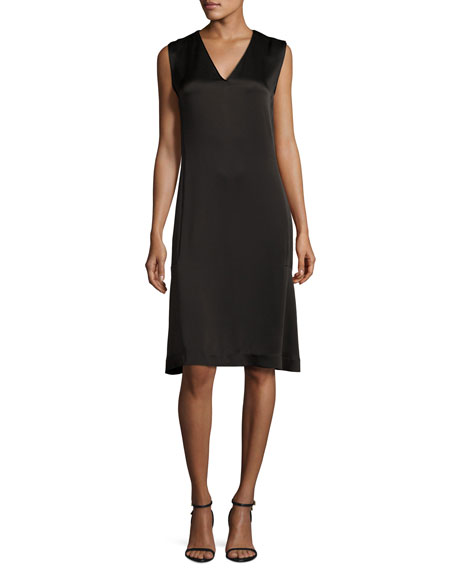 GREY Jason Wu Sleeveless V-Neck Satin Shift Dress,