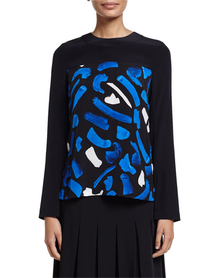GREY by Jason Wu Long-Sleeve Brushstroke-Print Top, Blue/White