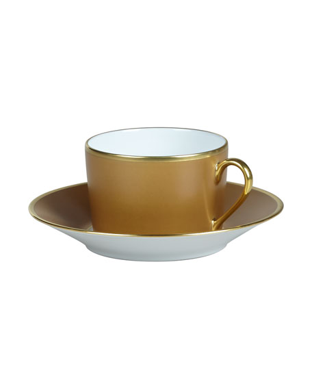 Haviland Color Block Bronze/Gold Saucer