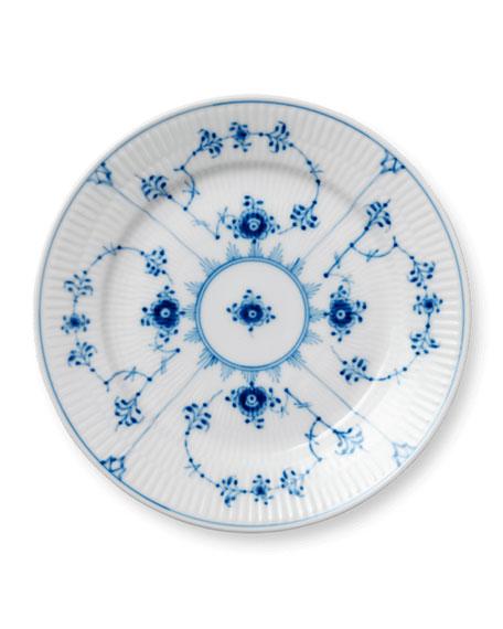 Blue Fluted Plain Dessert Plate