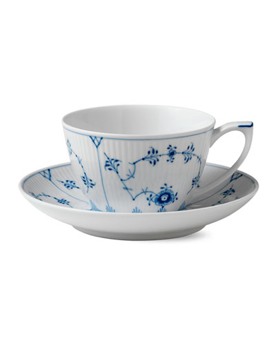 Blue Fluted Plain Cup and Saucer