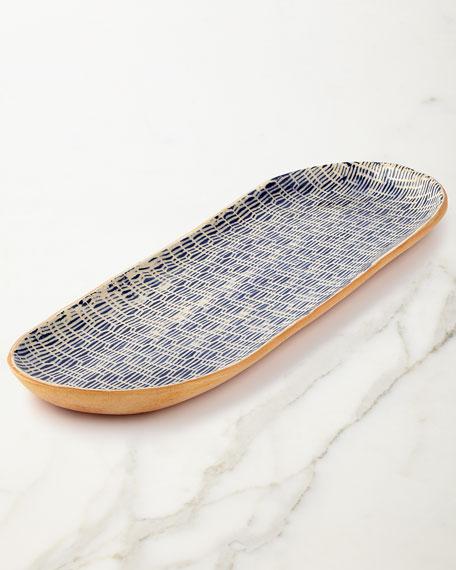 Terrafirma ceramics cobalt rattan canape tray for Canape trays