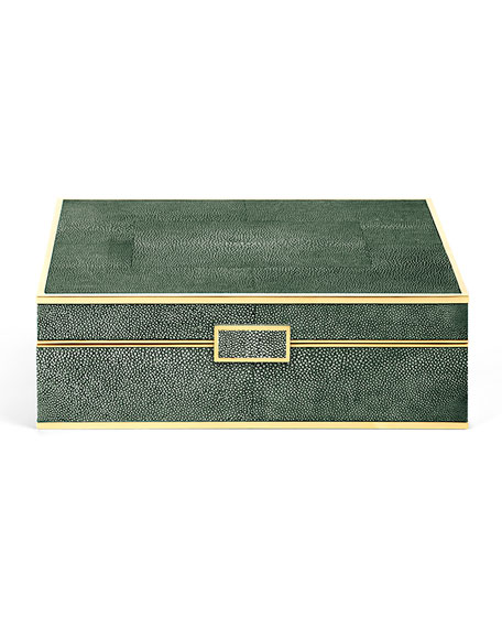 Large Faux-Shagreen Jewelry Box
