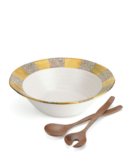 Tempio Luna Gold Salad Bowl with Servers
