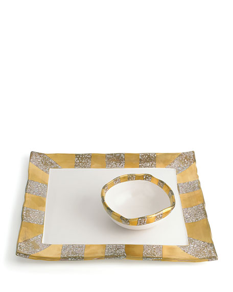 Tempio Luna Gold Tray with Bowl