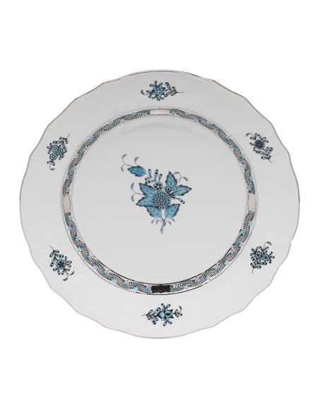 Herend Chinese Bouquet Turquoise & Platinum Dinner Plate