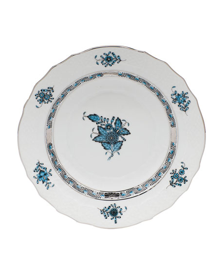 Chinese Bouquet Turquoise & Platinum Salad Plate