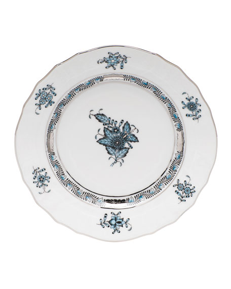 Herend Chinese Bouquet Turquoise & Platinum Bread &