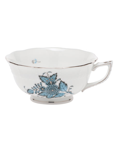 Chinese Bouquet Turquoise & Platinum Teacup