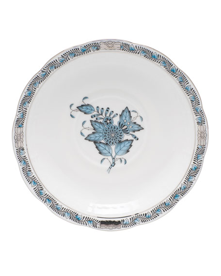 Chinese Bouquet Turquoise & Platinum Tea Saucer