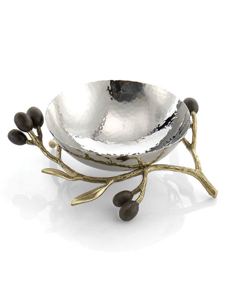 Michael Aram Gold Olive Branch Nut Dish