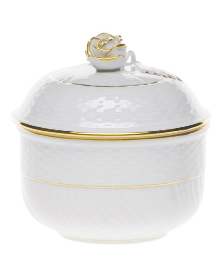Herend Golden Edge Covered Sugar Bowl