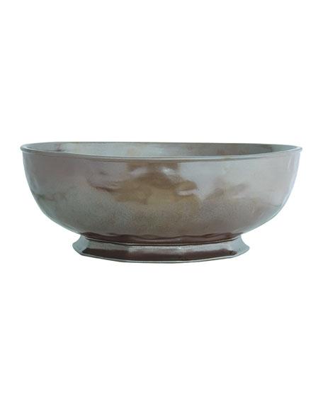 Large Pewter Stoneware Serving Bowl