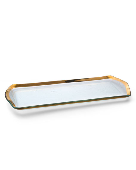 Annieglass Roman Antique Gold Oblong Pasty Tray