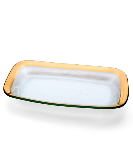 Annieglass Roman Antique Gold Rectangular Tray