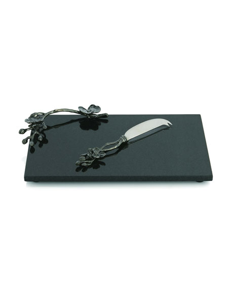 Michael Aram Black Orchid Cheese Board with Knife